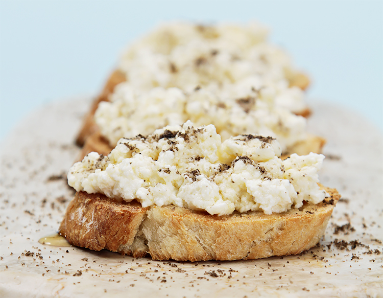 Crostini with ricotta, truffle honey and smoked salts