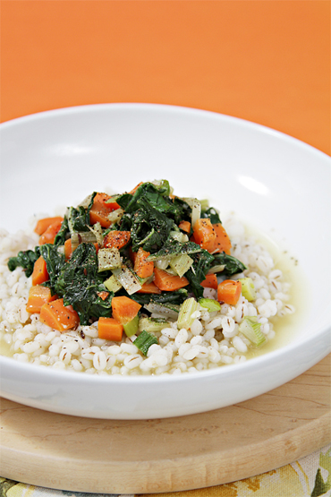 Pearled barley with carrots and Swiss chard