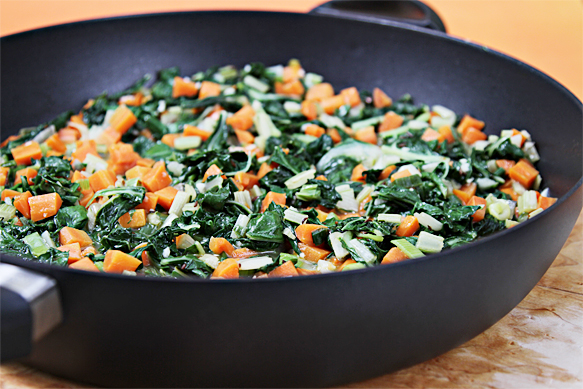 Carrots and Swiss chard with caraway seeds