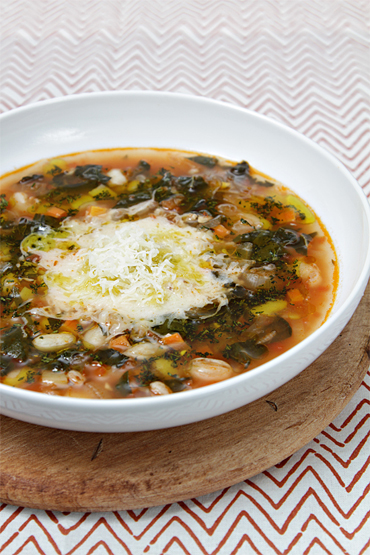 Winter vegetable minestrone with cannellini beans and farro