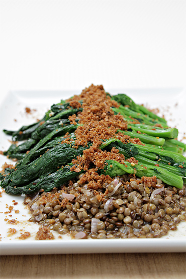 French green lentils with sautéed broccoli rabe and Parmesan breadcrumbs