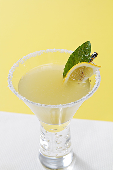 Basil-infused Meyer lemon margarita