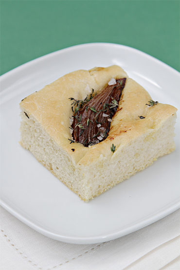 Focaccia with balsamic-roasted onions and fresh thyme