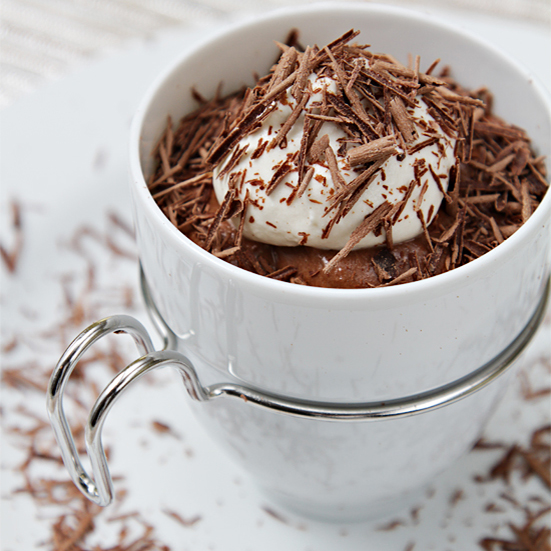 Chocolate–Cognac mousse with maple Chantilly