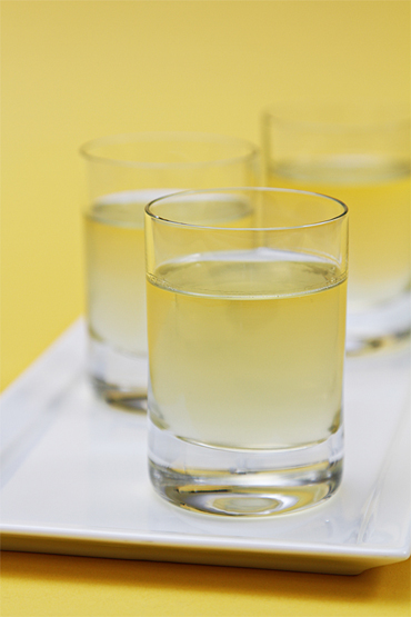 Homemade Meyer lemon liqueur (Limoncello)