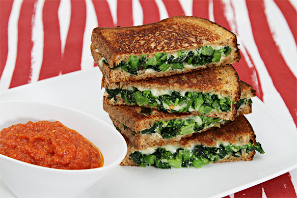 Whole wheat grilled cheese with broccoli rabe and cave-aged Gruyère