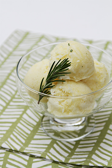 Pineapple sorbet with rosemary