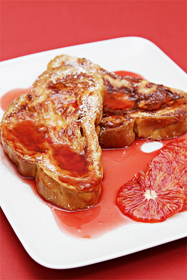 Cinnamon French toast with blood orange syrup