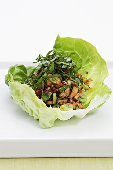 Lettuce boats with spicy shiitake mushrooms and basil chiffonade