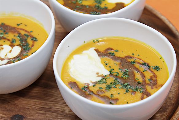 Carrot Soup with Garam Masala and crème fraîche
