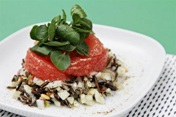 Wild rice and fennel salad with grapefruit and watercress
