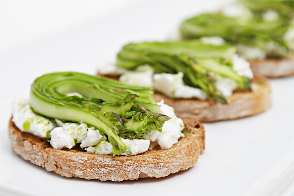 Bruschetta with fresh goat cheese and shaved asparagus