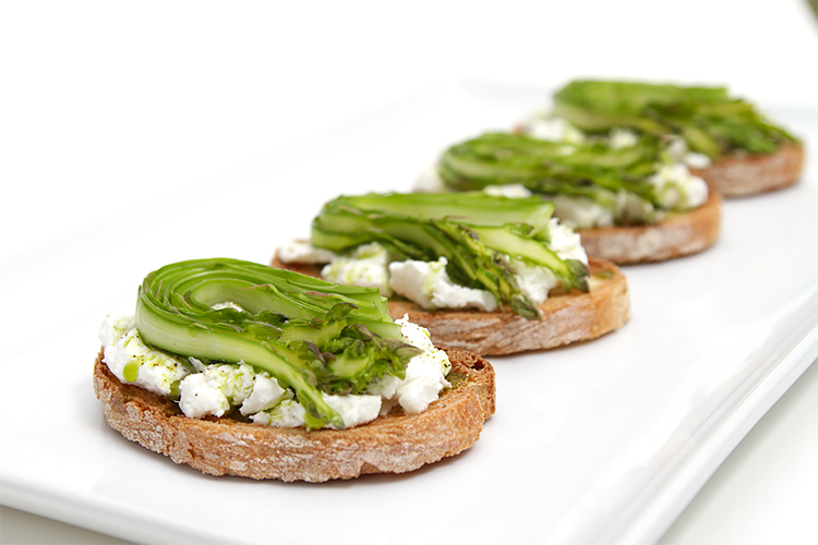 Shaved asparagus and goat cheese bruschetta with chive-infused oil An ...
