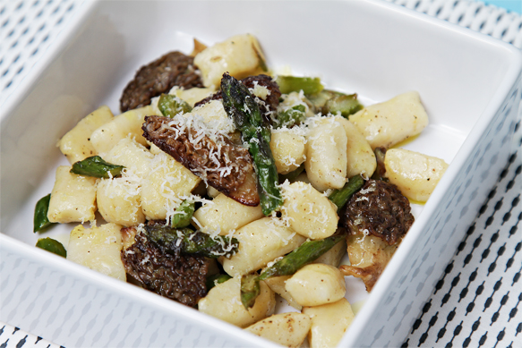 Potato–Parmesan gnocchi with morels and asparagus