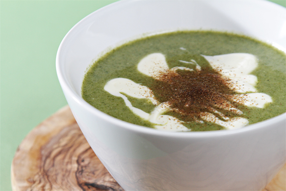 Nettle soup with buttermilk-Meyer lemon crème fraîche and Sichuan peppers