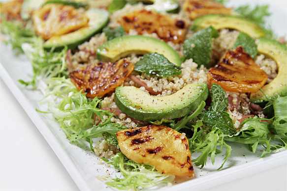 Quinoa salad with avocado and roasted pineapple-pickled shallots