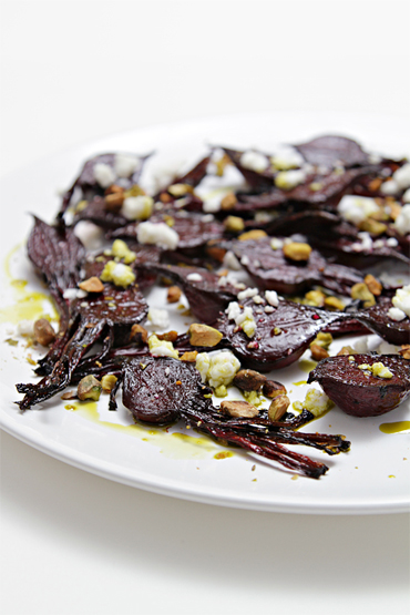 Balsamic-roasted baby beets with feta and pistachios