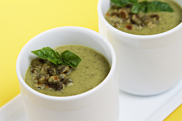 Chilled roasted zucchini soup with basil and fried capers