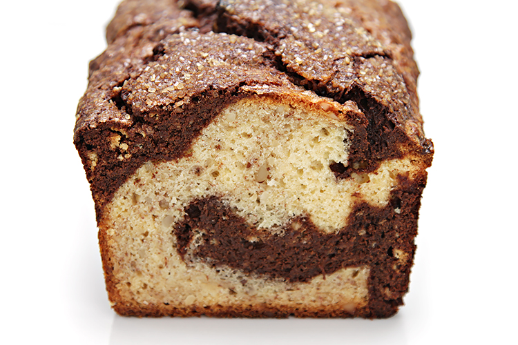 Dark chocolate marbled banana nut bread food style banana bread with brazil nuts and dark chocolate swirls forumfinder
