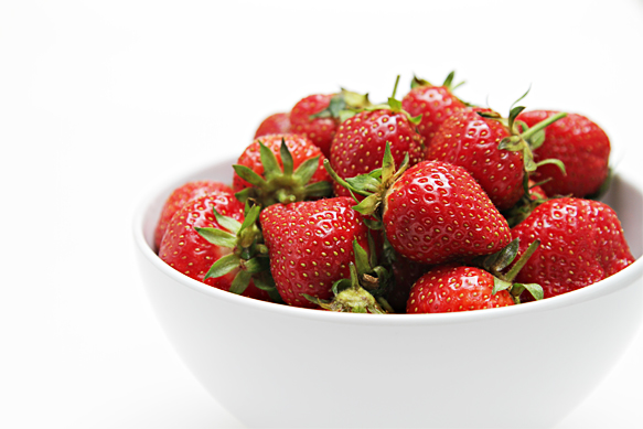 Strawberries in white bowl