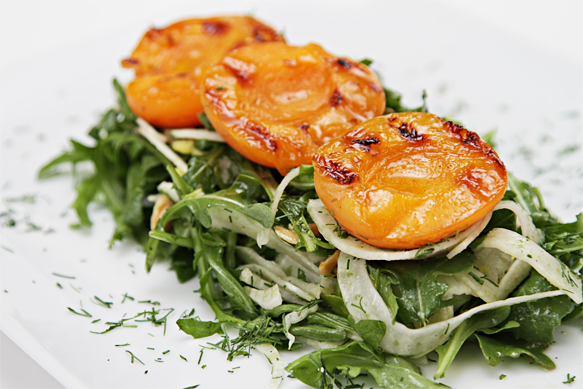Fennel and arugula salad with grilled apricots and Marcona almonds