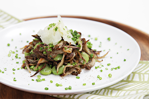 Fresh fava beans with warm hen-of-the-woods mushrooms and Manchego