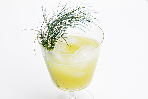 Pineapple agua fresca with fennel greens