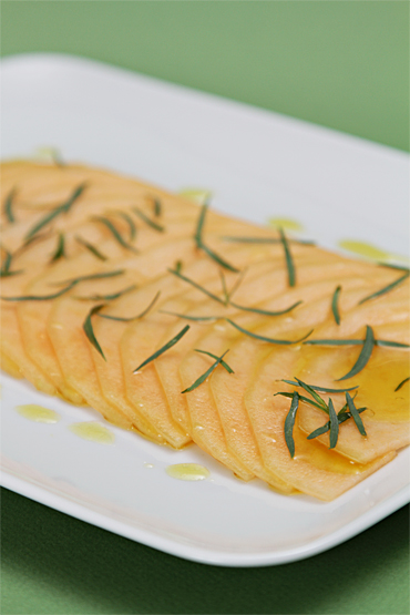 Melon carpaccio with lime and tarragon