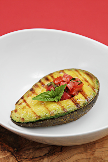 Grilled avocados with tomato-basil salsa