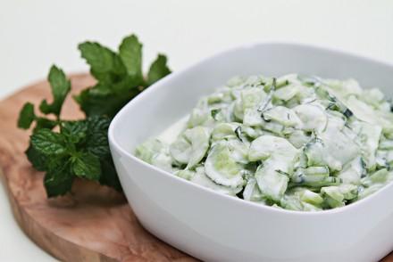 Cucumber salad with Greek yogurt and mint