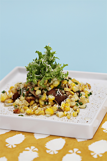 Sweet corn salad with shiitake mushrooms and roasted walnuts