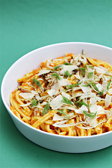 Caserecci with yellow tomato sauce and roasted fennel-Asiago shavings