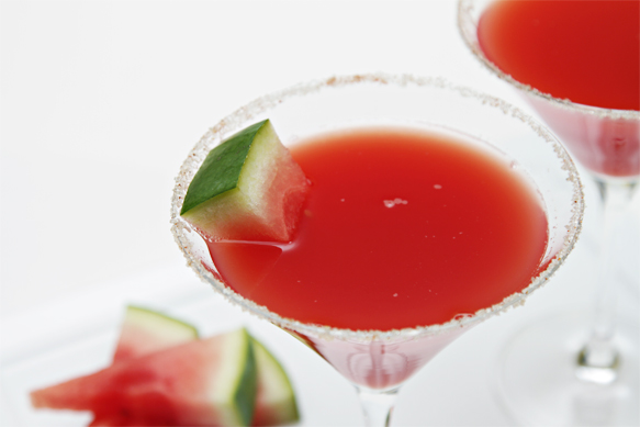 Watermelon cocktail with ginger liqueur and sugar-spiced rim