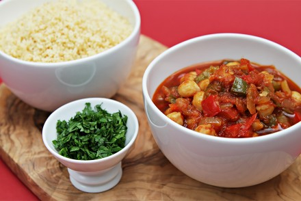 Spanish chickpea stew served with toasted couscous
