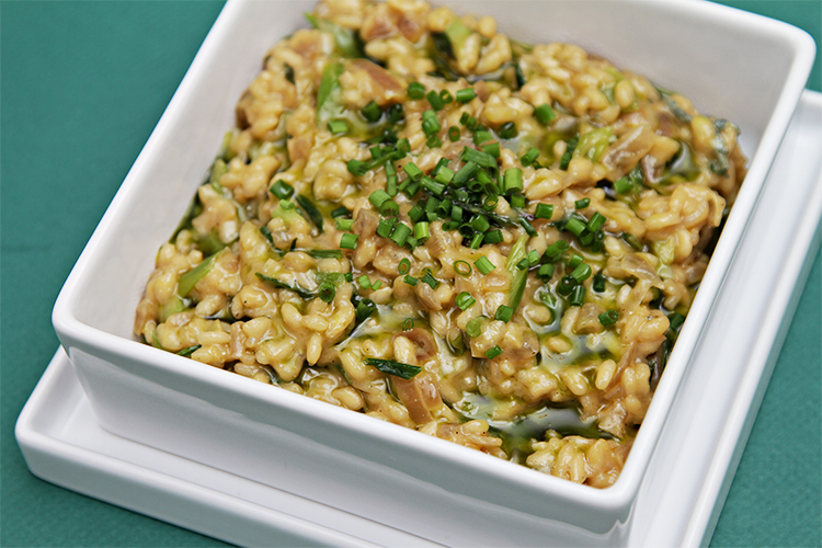 Risotto with blue cheese, pan-roasted scallions and chive-infused oil