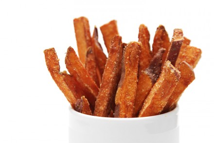 Hand-cut sweet potato fries with cilantro-lime aioli