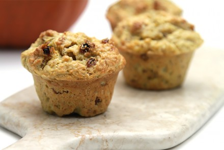 Pumpkin muffins with orange zest and rosemary