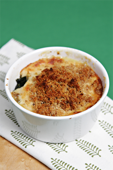 Individual Swiss chard gratins with breadcrumbs