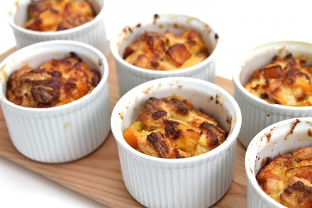 Sherry-roasted butternut squash and brioche bread puddings