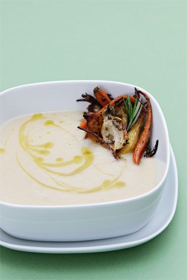 Japanese turnip soup with rosemary-roasted root vegetables