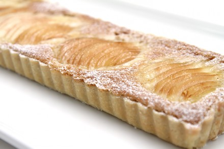Pear tart with hazelnut frangipane and cardamom Chantilly