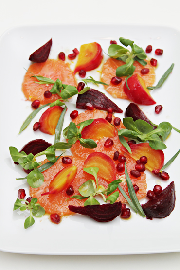 Cara Cara Orange and beet salad with pomegranate and mâche