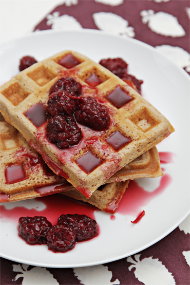 Waffles with chestnut flour and blackberry-orange syrup