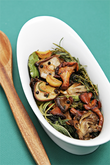 Wild mushroom confit with garlic and fresh herbs