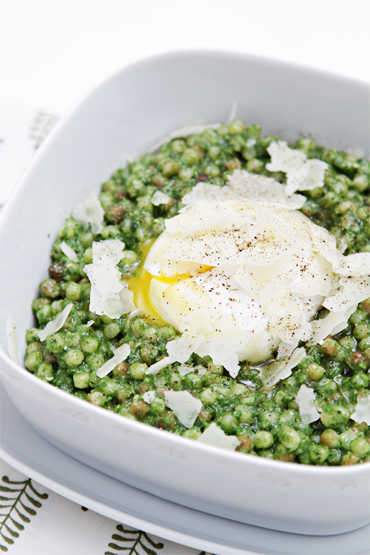 Fregola with kale pesto and poached eggs-Pecorino Romano shavings