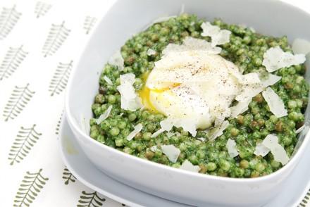 Fregola with kale pesto