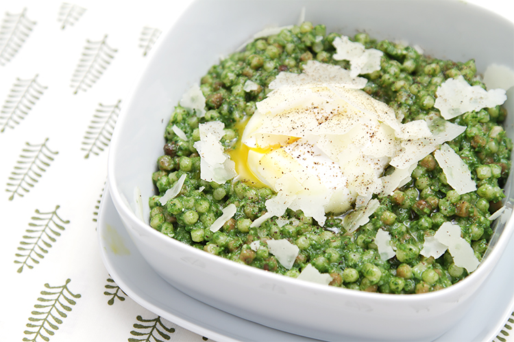 Fregola with kale pesto