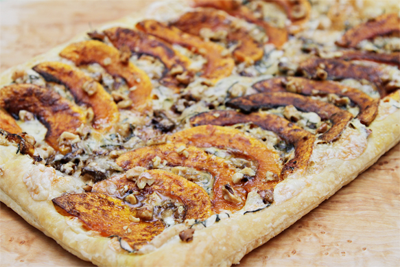 Roasted butternut squash tart with Taleggio and walnuts