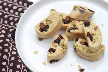 Biscotti with salted pistachios and kirsch-soaked dried cherries