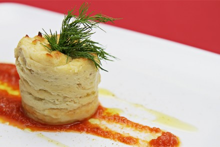 Parsnip mousse with Gorgonzola Dolce and tomato coulis